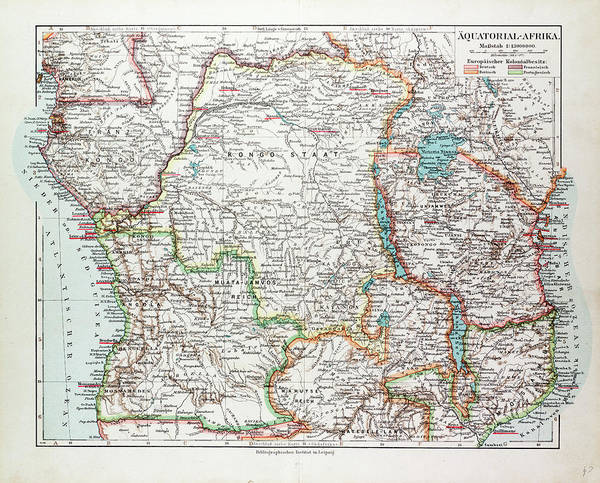 Uganda Drawing - Map Of Equatorial Africa The Republic Of Mozambique by English School