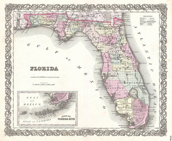 Photograph - Map Of Florida by Joseph Hutchins Colton