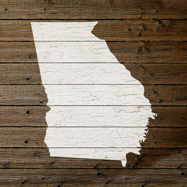 Distress Mixed Media - Map Of Georgia State Outline White Distressed Paint On Reclaimed Wood Planks by Design Turnpike