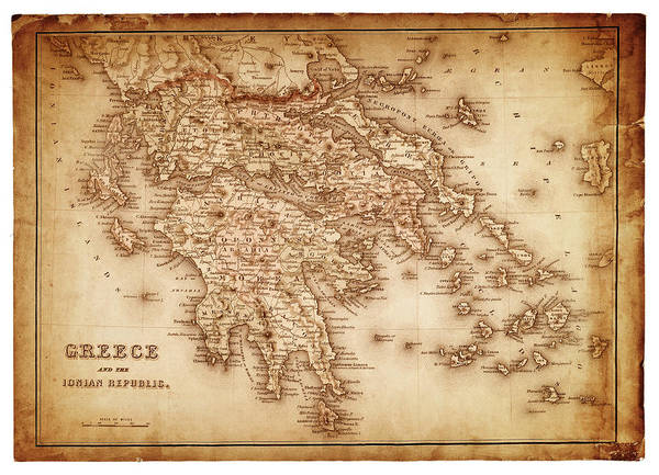 Patina Digital Art - Map Of Greece 1854 by Thepalmer