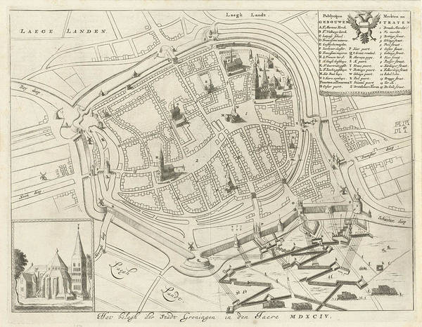 Wall Art - Drawing - Map Of Groningen During The Siege, 1594 by Litz Collection