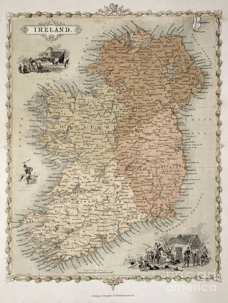 Area Painting - Map Of Ireland by C Montague