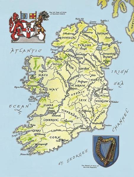 Area Painting - Map Of Ireland by English School