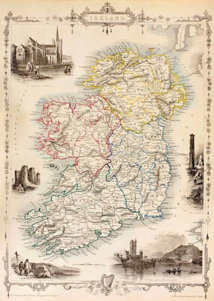 Area Painting - Map Of Ireland From The History Of Ireland By Thomas Wright by English School