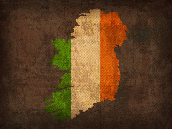 Flag Wall Art - Mixed Media - Map Of Ireland With Flag Art On Distressed Worn Canvas by Design Turnpike