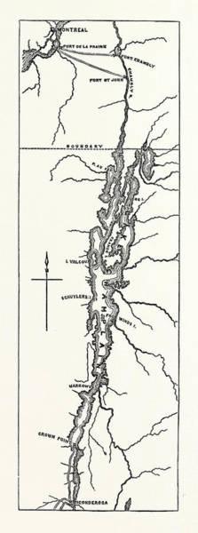 Wall Art - Drawing - Map Of Lake Champlain, Us, Usa by English School