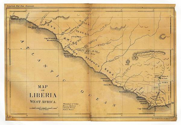 Colonization Wall Art - Photograph - Map Of Liberia by Library Of Congress, Geography And Map Division
