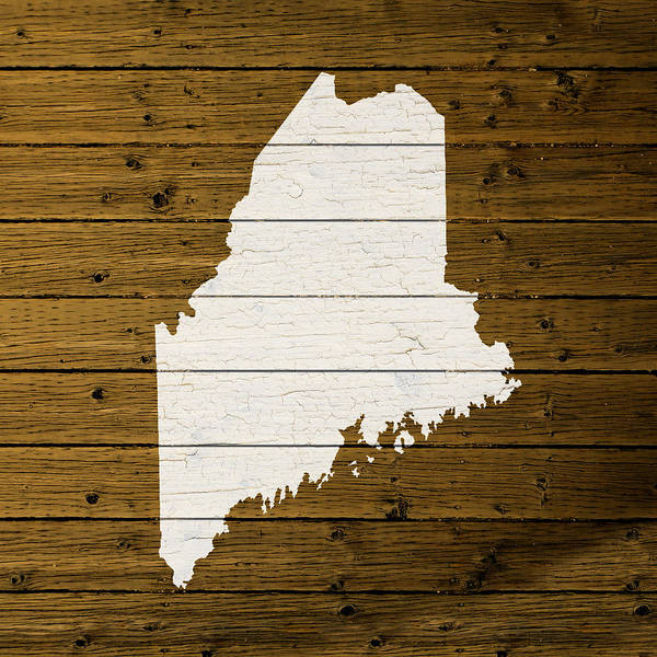Map Of Maine State Outline White Distressed Paint On Reclaimed Wood Planks. Art Print