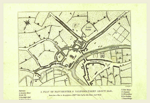 Manchester Drawing - Map Of Manchester  And Salford About 1650 by Litz Collection
