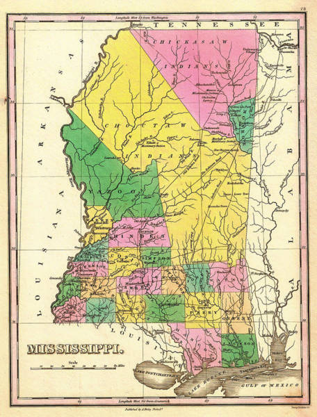 Collectible Art Drawing - Map Of Mississippi 1827 by Mountain Dreams