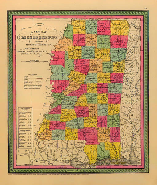 Contour Map Photograph - Map Of Mississippi 1850 by Mountain Dreams