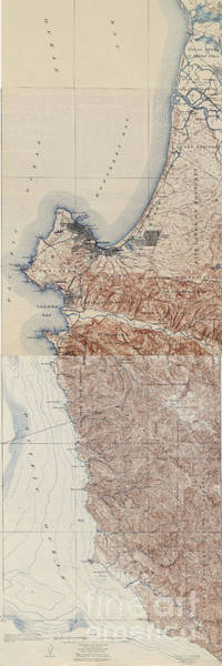 Photograph - Map Of Monterey Coast Line California 1917 by California Views Archives Mr Pat Hathaway Archives