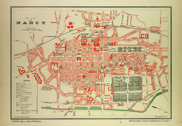 Wall Art - Drawing - Map Of Nancy France by French School