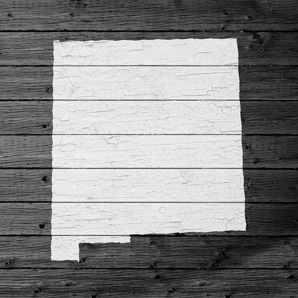 Border Mixed Media - Map Of New Mexico State Outline White Distressed Paint On Reclaimed Wood Planks by Design Turnpike