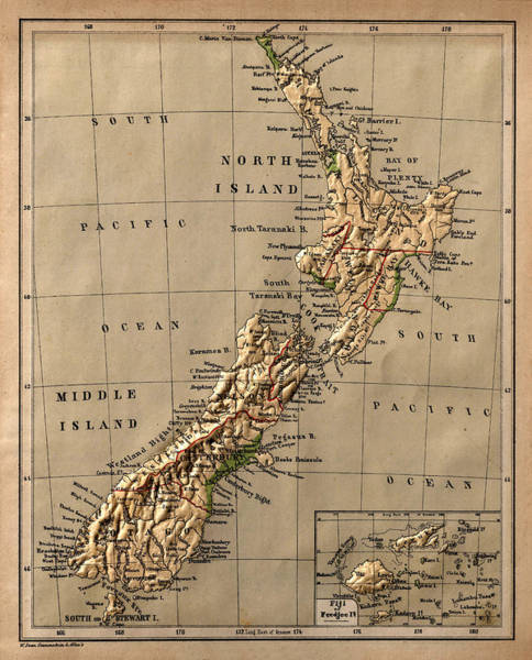 Map Of New Zealand 1880 Art Print