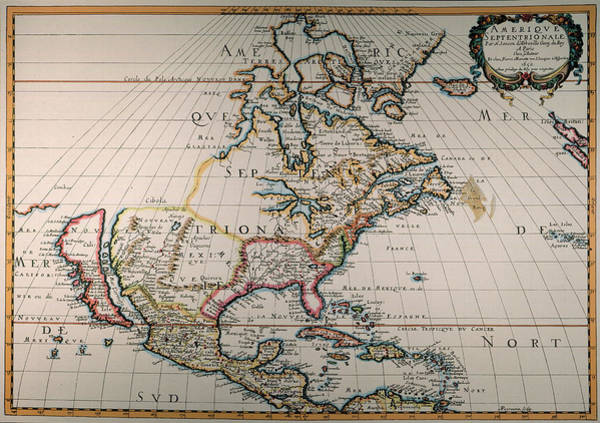 Wall Art - Painting - Map Of North America, 1650 by Granger