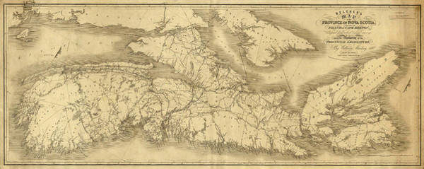 Wall Art - Photograph - Map Of Nova Scotia 1834 by Andrew Fare
