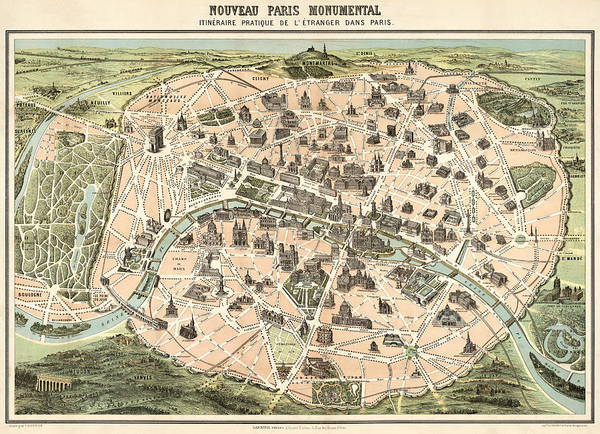 Contour Map Photograph - Map Of Paris 1878 by Mountain Dreams