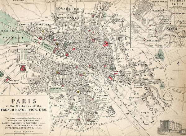 Mapping Drawing - Map Of Paris At The Outbreak Of The French Revolution by French School
