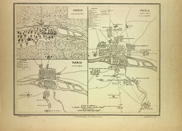Wall Art - Drawing - Map Of Paris In 60 B.c by French School