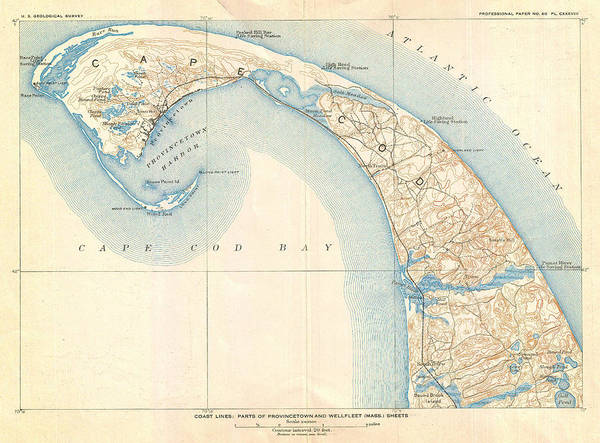 Wall Art - Painting - Map Of Provincetown Cape Cod Massachusetts by Celestial Images