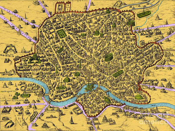 Photograph - Map Of Rome 1500s by Getty Research Institute
