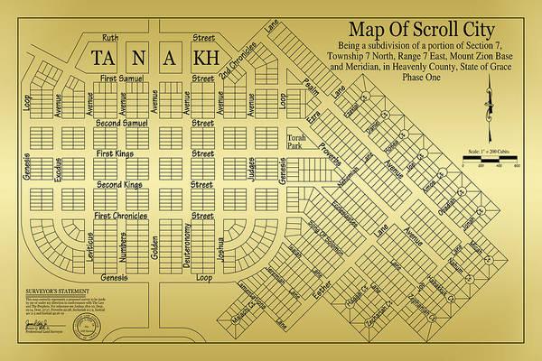 Digital Art - Map Of Scroll City by James Eddy