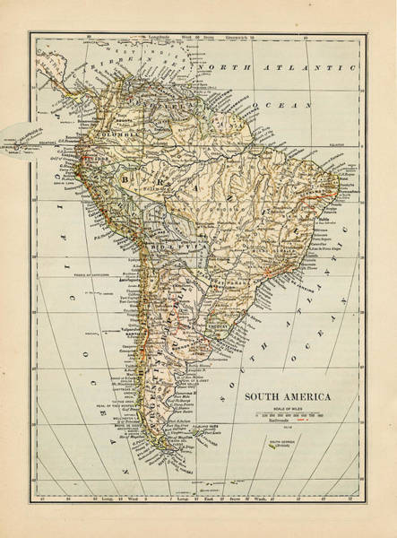 Colombian Wall Art - Photograph - Map Of South America 1875 by Thepalmer
