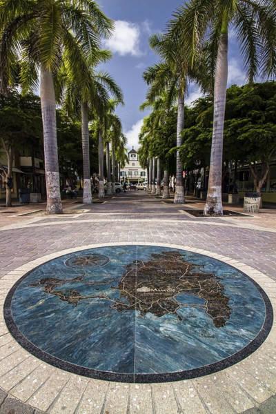 St Martin Photograph - Map Of St. Maarten In The Boardwalk by Sven Brogren