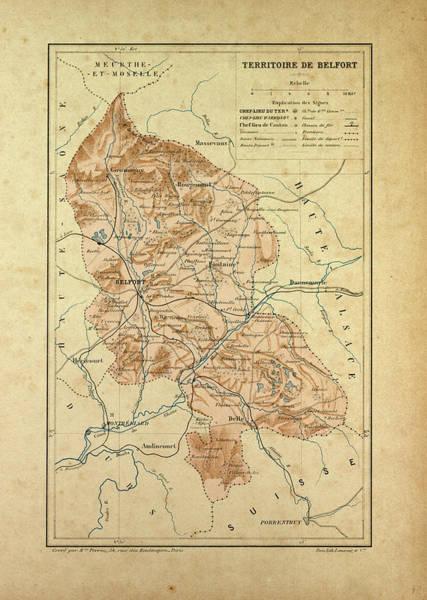 Wall Art - Drawing - Map Of Territoire De Belfort France by French School