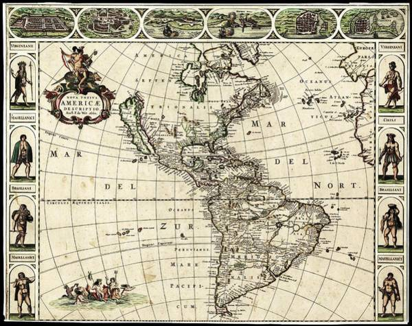 Cusco Photograph - Map Of The Americas by Library Of Congress, Geography And Map Division