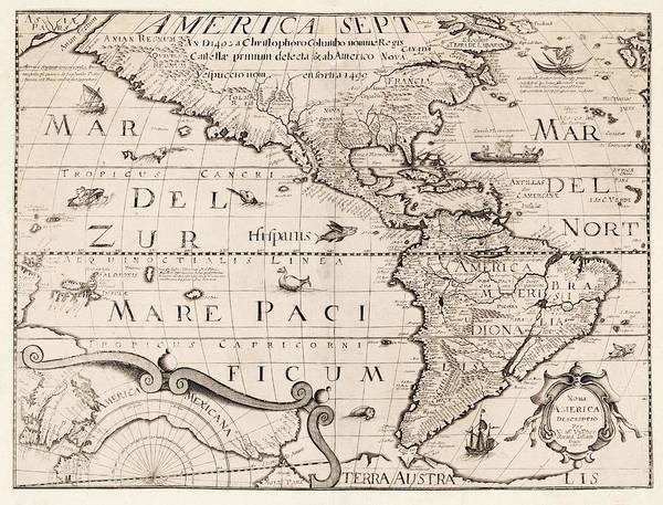 Nova Photograph - Map Of The Americas by Library Of Congress, Geography And Map Division/science Photo Library