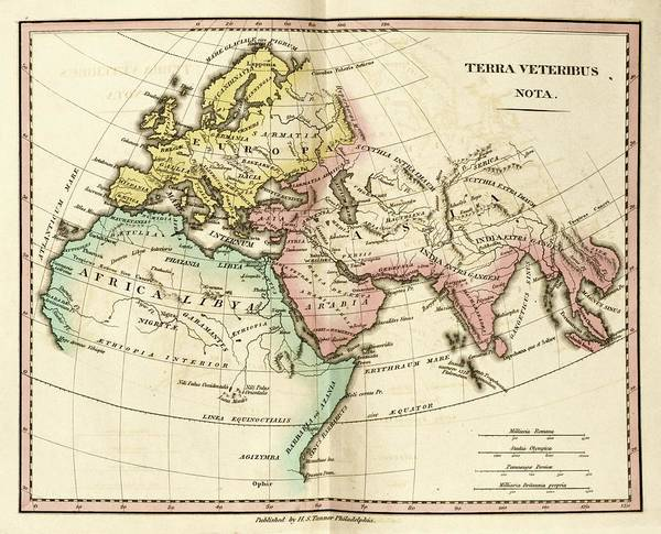 Germania Photograph - Map Of The Ancient World by Library Of Congress, Geography And Map Division