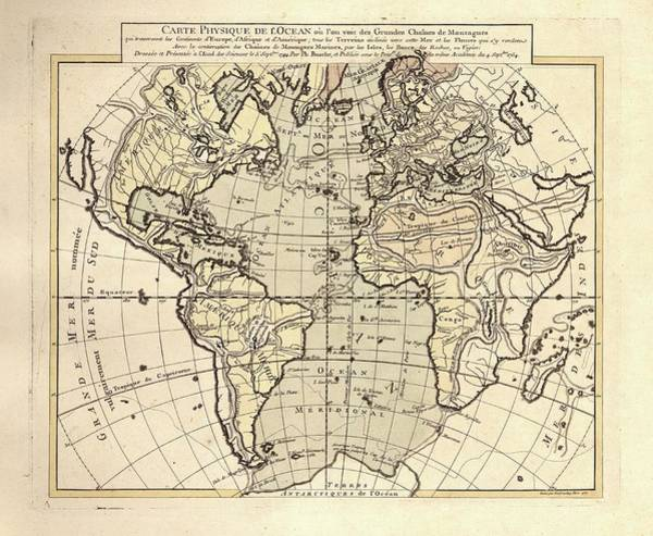 Physique Photograph - Map Of The Atlantic Ocean by Library Of Congress, Geography And Map Division