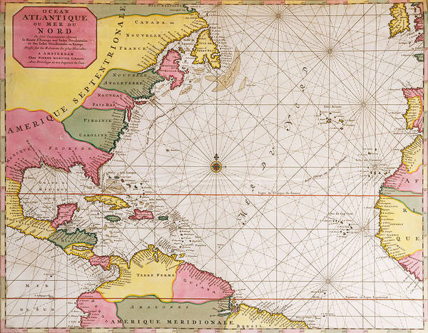 Old West Drawing - Map Of The Atlantic Ocean Showing The East Coast Of North America The Caribbean And Central America by French School