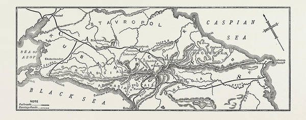 Caucasian Drawing - Map Of The Caucasian Range by Litz Collection