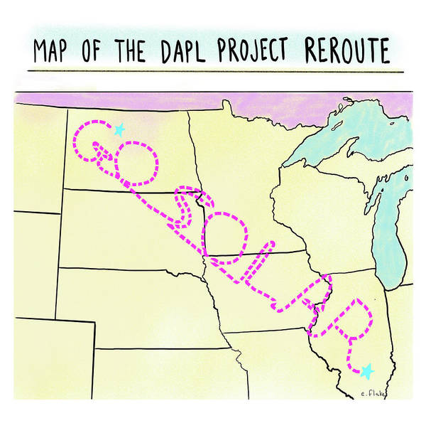 Conservation Drawing - Map Of The Dapl Project Reroute by Emily Flake