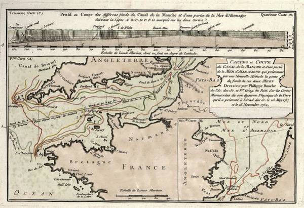 Physique Photograph - Map Of The English Channel by Library Of Congress, Geography And Map Division