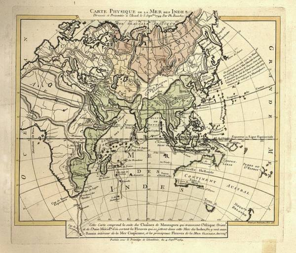 Physique Photograph - Map Of The Indian Ocean by Library Of Congress, Geography And Map Division