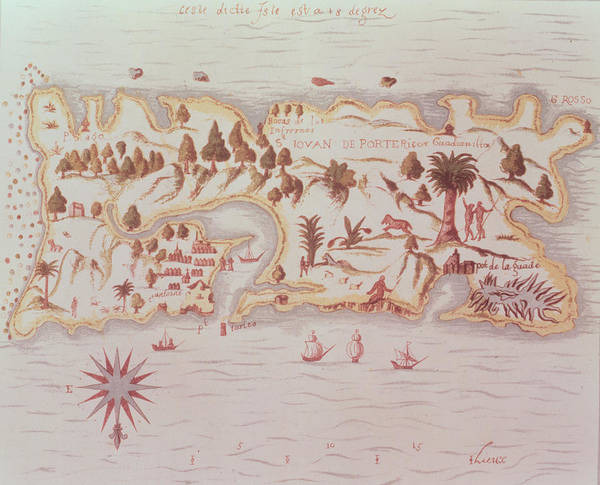 Historic Drawing - Map Of The Island Of Puerto Rico by Samuel de Champlain