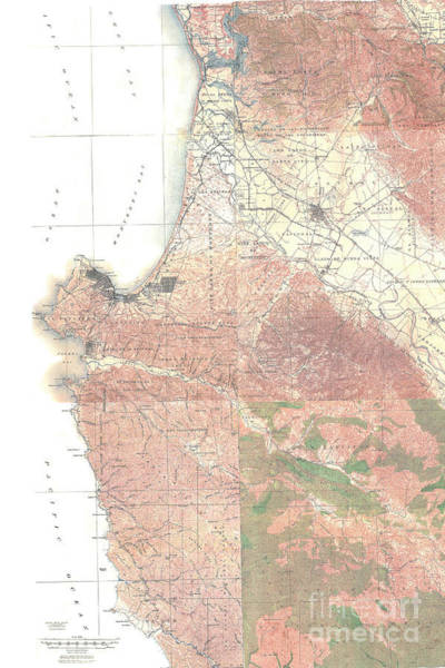 Photograph - Map Of The Monterey California 1912 by California Views Archives Mr Pat Hathaway Archives