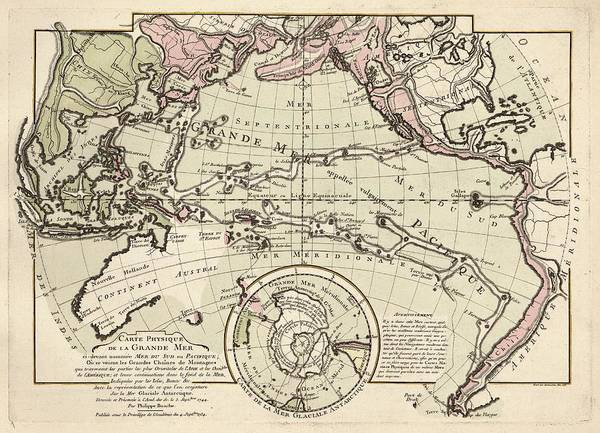 Physical Geography Photograph - Map Of The Pacific Ocean by Library Of Congress, Geography And Map Division