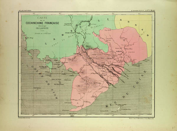 Vietnam Drawing - Map Of The South Of Vietnam And Cambodia by English School
