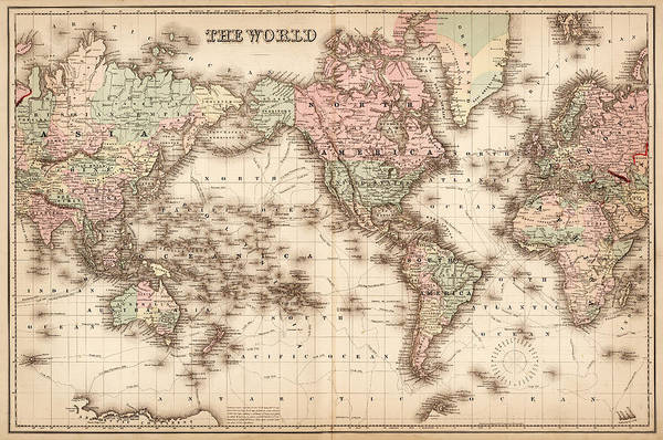 Patina Digital Art - Map Of The World 1855 by Thepalmer