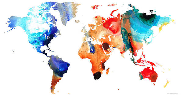 Painting - Map Of The World 8 -colorful Abstract Art by Sharon Cummings