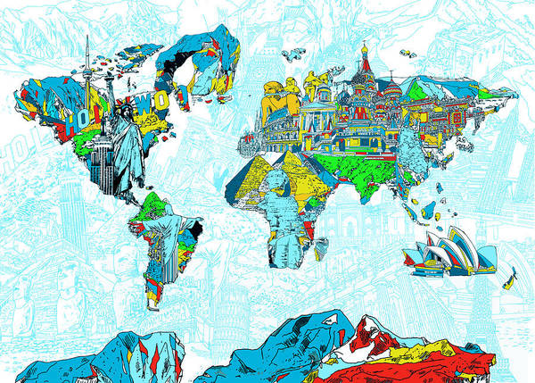 Wall Art - Painting - Map Of The World Landmark Collage 2 by Bekim M