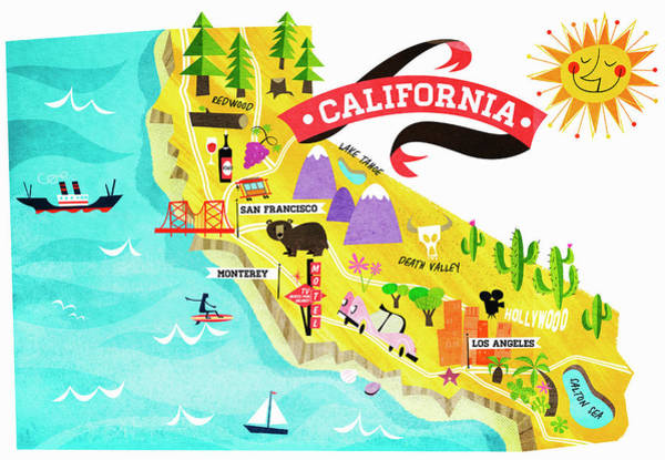 Wall Art - Photograph - Map Of Tourist Attractions In California by Ikon Ikon Images