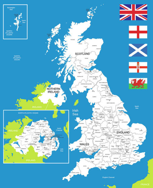 Manchester Digital Art - Map Of United Kingdom by Poligrafistka