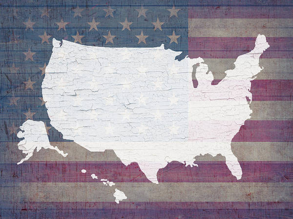 Map Of United States Mixed Media - Map Of United States In White Old Paint On American Flag Barn Wood by Design Turnpike