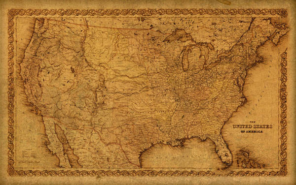 Map Of United States Mixed Media - Map Of United States Of America Vintage Schematic Cartography Circa 1855 On Worn Parchment  by Design Turnpike